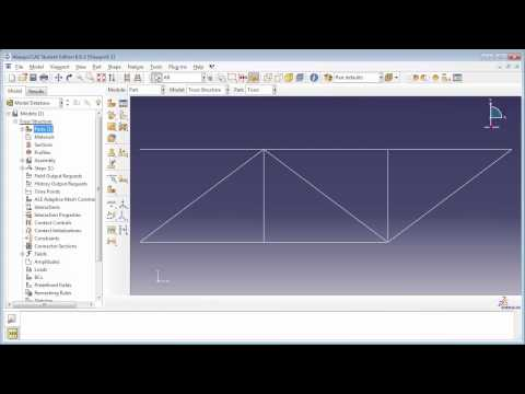 1.b) Static Analysis of a 2D truss - Part 1 of 2 (with audio): This is a free tutorial on modeling 2D truss structures in Abaqus.