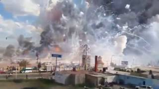 Huge Explosions Fireworks Market Tultepec Mexico 2016~Stabilized Video