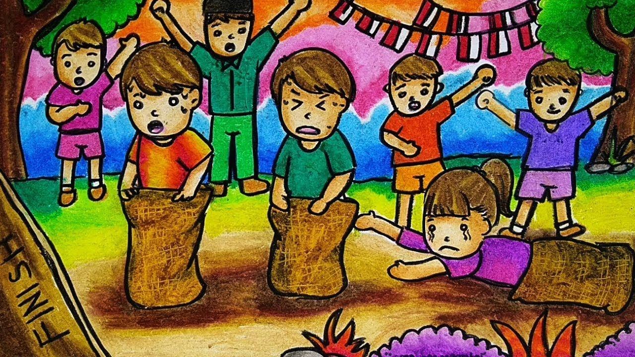 Cara Menggambar Dan Mewarnai Tema Lomba 17 Agustus Kemerdekaan Ri Yang Bagus Dan Mudah Youtube