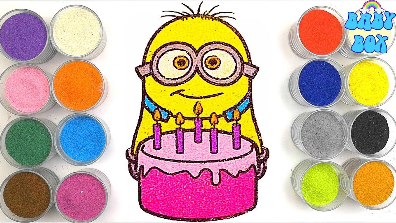 Миньон раскраска для детей. Рисование песком. Детское ...
