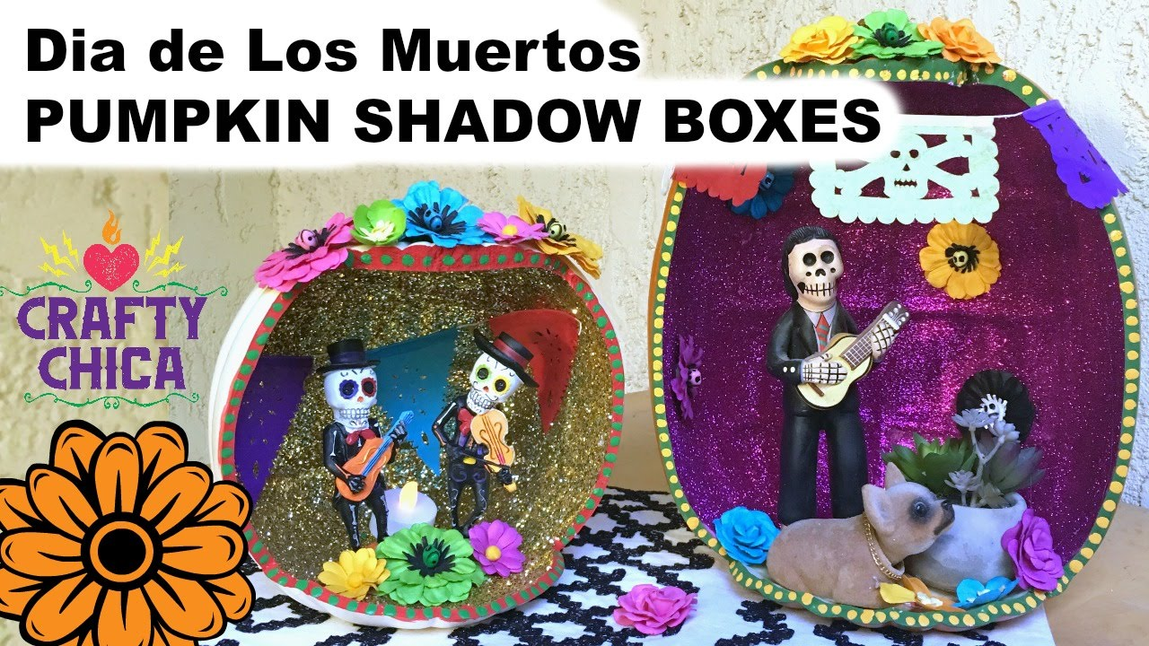 day of the dead craft ideas diy pumpkin shadow box muertos craft 7658