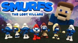 Search for Smurfs The Lost Village Movie Action Figures Gift Pack Schleich Unboxing Review Papa, Brainy, Lazy
