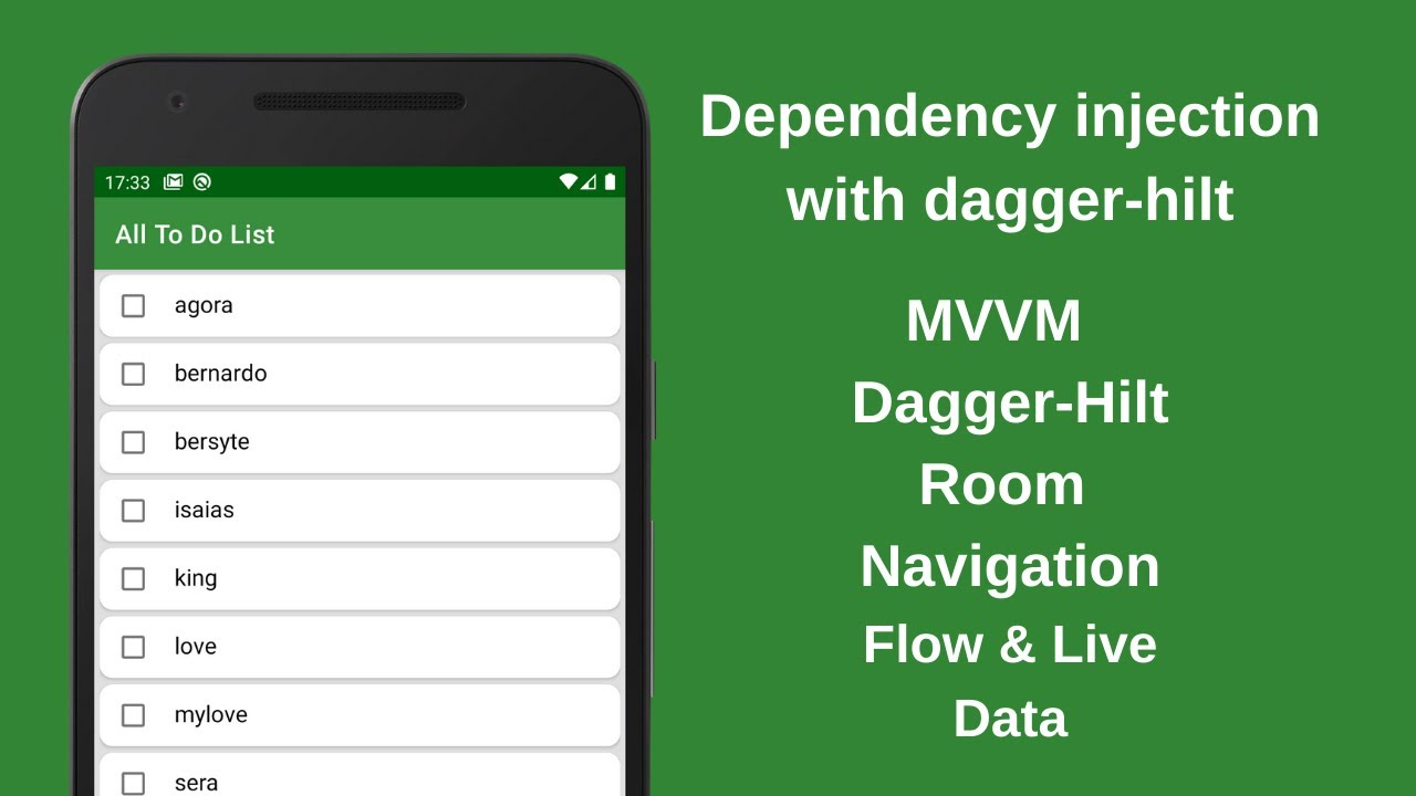 Dependency Injection with Dagger Hilt. MVVM TODO App with Room,  Navigation, Flow&LIveData