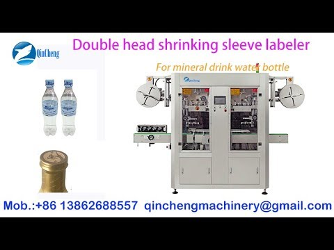 automatic double head shrinking labeling machine for mineral drink water