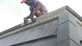 Kho Tư liệu Xây dựng - Cách đắp chỉ chặn trên đỉnh mái ngói biệt thự cổ điển