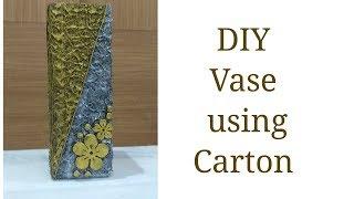 DIY Vase using cardboard box/Antique vase made of carton/Best out of waste