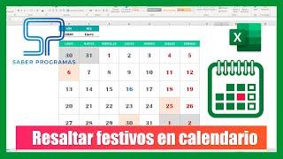 Excel |  RESALTAR FESTIVOS en calendario perpetuo en Excel
