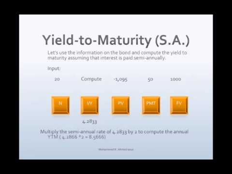 yield-to-maturity on a semiannual coupon bond