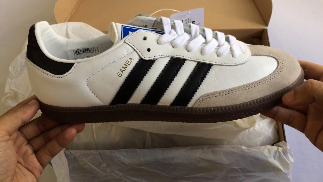 adidas originals white and black samba og trainers
