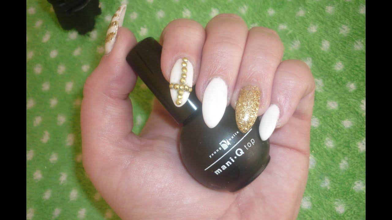 Prom nails| white and gold stiletto. - YouTube
