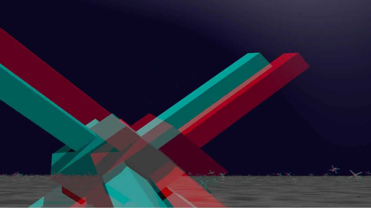 Cubic space division 3d anaglyph for red and green for Cubi spaceo