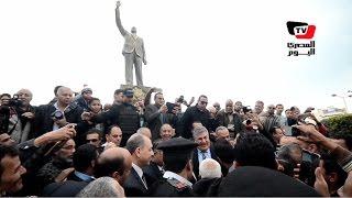إزاحة الستار عن تمثال «عبد الناصر» بحضور نجله ومحافظ بورسعيد