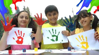 Finger Color Song | Guka Nastya and Maria Learn Colors with Body Paint Finger Song