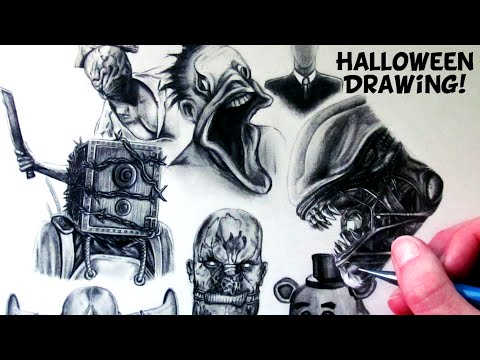 Halloween Drawing - Horror Game Characters - Fan Art Time Lapse
