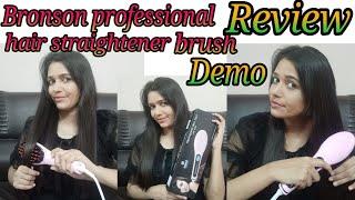 Bronson professional hair straightener brush Review!!! Demo!!!