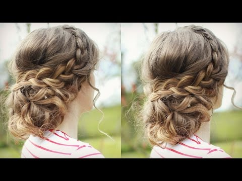 DIY Curly Updo With Braids Messy Updo Prom