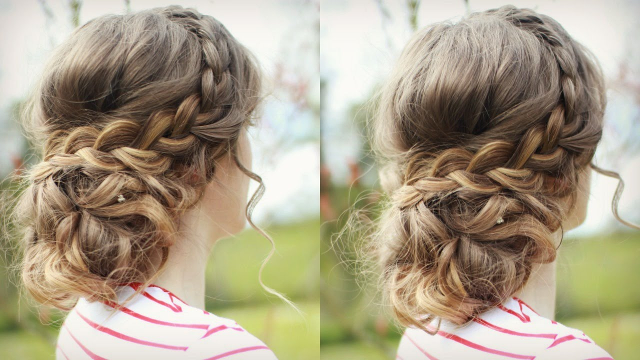 Diy Curly Updo With Braids Messy Updo Prom Braidsandstyles12