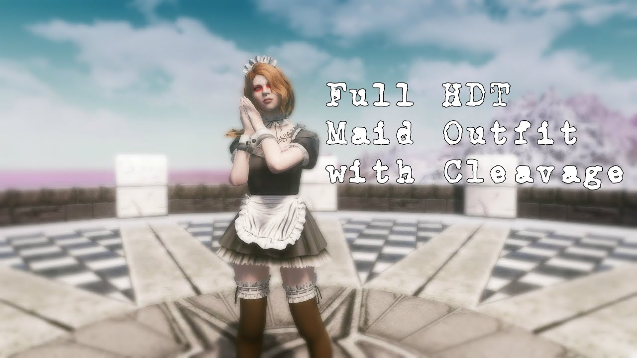 Skyrim mod: Full HDT Maid Outfit with Cleavage (UNP) by zwartader