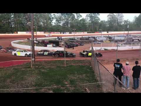 04/21/2018 East Lincoln Speedway Stock 4 Heat Race. #99 Hilton 1st