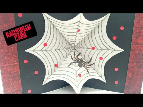 Spooky Spider Web Popup card for Halloween - DIY | Scrapbook | Tutorial by Paper Folds - 806