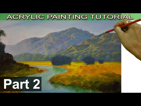 Acrylic Landscape Painting Tutorial on Bigger Canvas | How to Paint Mountains | Part 2 by JMLisondra