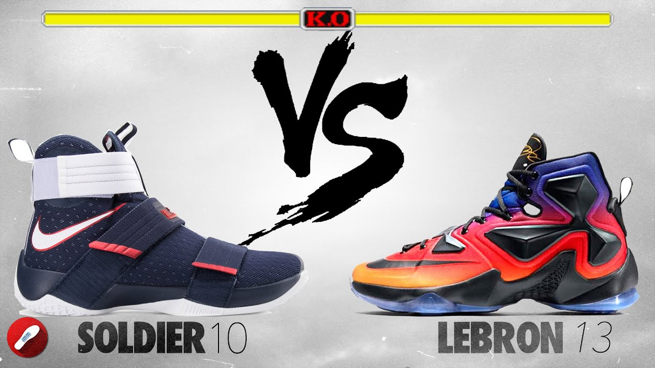 25b0bb9fa8add Nike Lebron Soldier 10 vs Nike Lebron 13 - YouTube