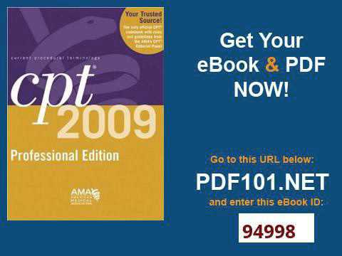 CPT 2009 Professional Edition Current Procedural Terminology, Professional Ed