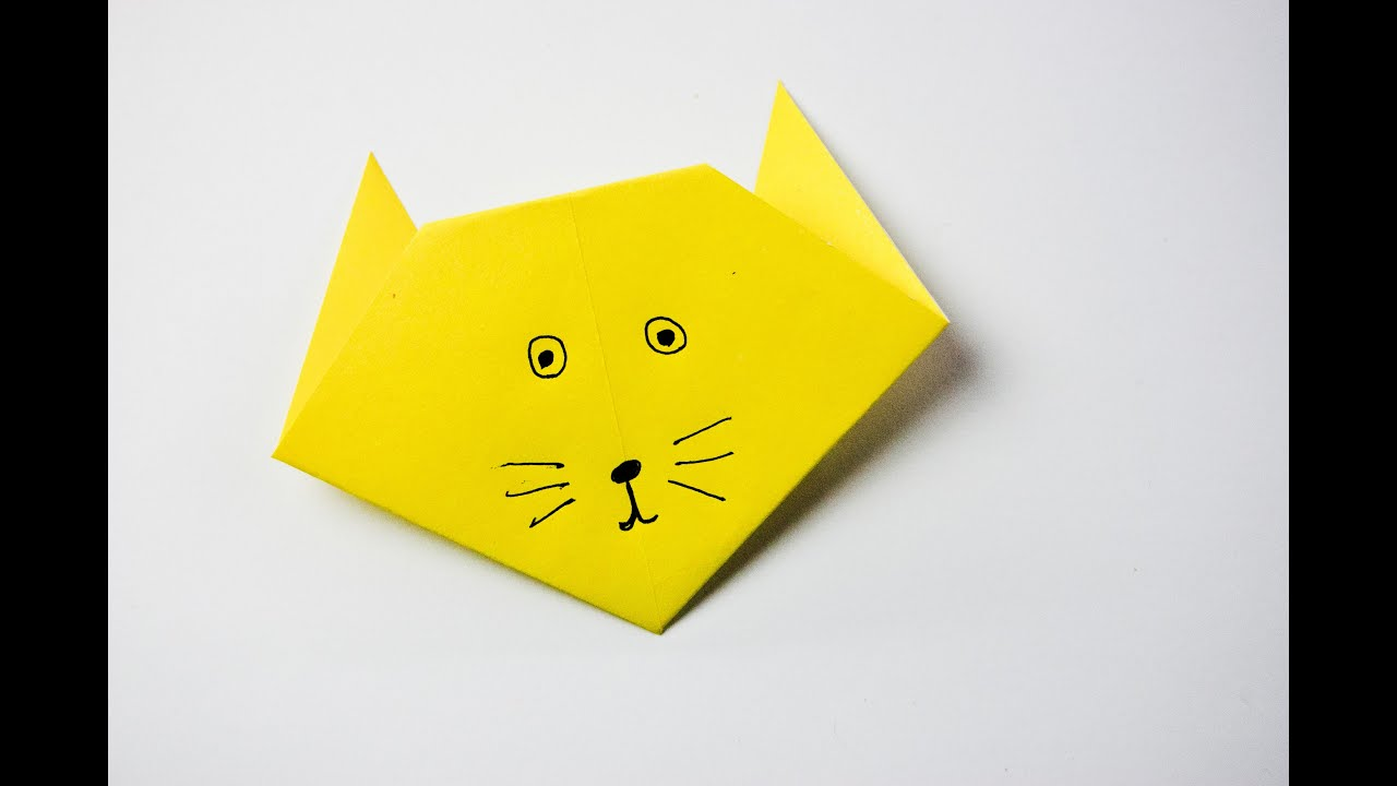 How To Make An Easy Origami Cat Face - Folding Instructions ... | 720x1280
