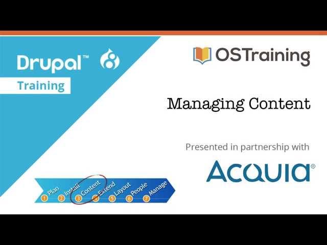 Drupal 8 Beginner, Lesson 31: Managing Content
