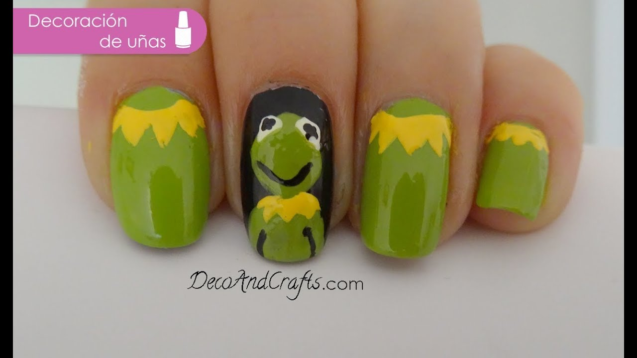 Kermit the frog Nail Art - Uñas Rana Rene - Muppets - YouTube