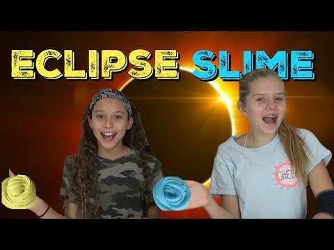 FLUFFY SLIME DIY || SOLAR ECLIPSE SLIME || Taylor and Vanessa