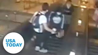 NYPD looking for man caught on video kicking a woman down an escalator   USA TODAY
