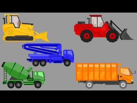 Caminhões - Tratores - Escavadeira - Aprender cores para crianças