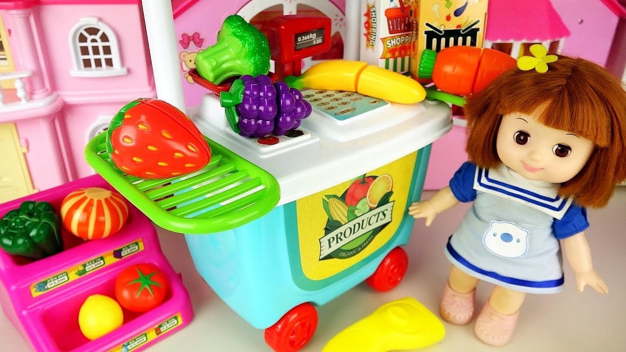 Baby Doll fruit shopping and cash register and baby Doli cute music - ToyPudding