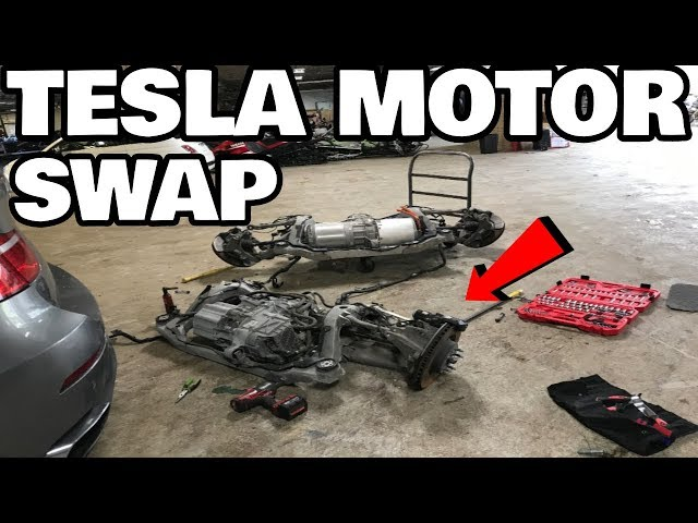 Restoring a Flood Salvage Tesla Model X Part 7: Tesla motor swap