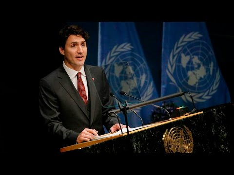 Justin Trudeau speaks at the UN before signing the Paris Agreement on climate change