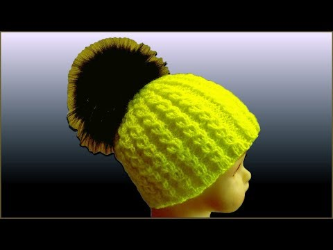 Двойная вязаная шапка спицами для девочки