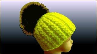 Двойная шапка спицами. Шапка спицами для девочки. Вязание шапки спицами. (Double hat)