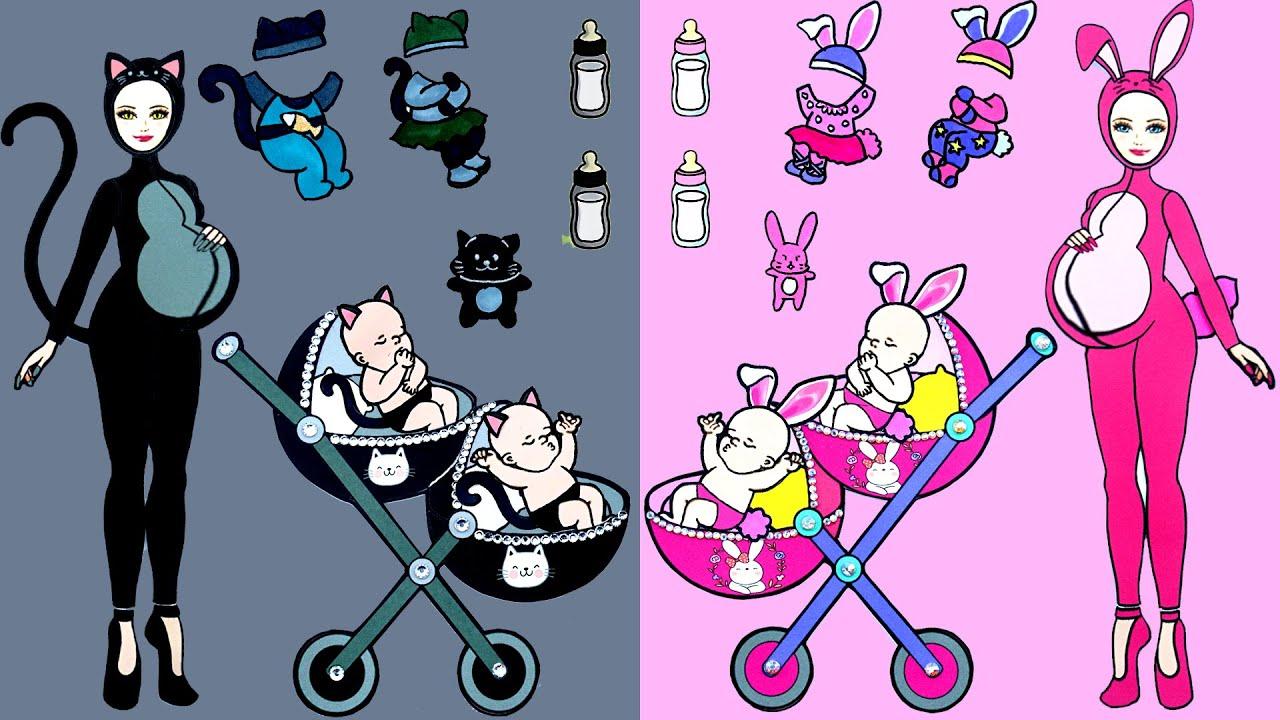 Paper Dolls Dress Up - Costumes Pink Rabbit and Black Cat Handmade Quiet Book - Dolls Beauty #34