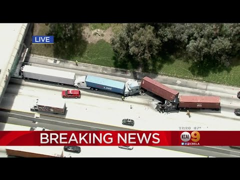 Multi-Semi Truck Crash Shuts Down Freeway