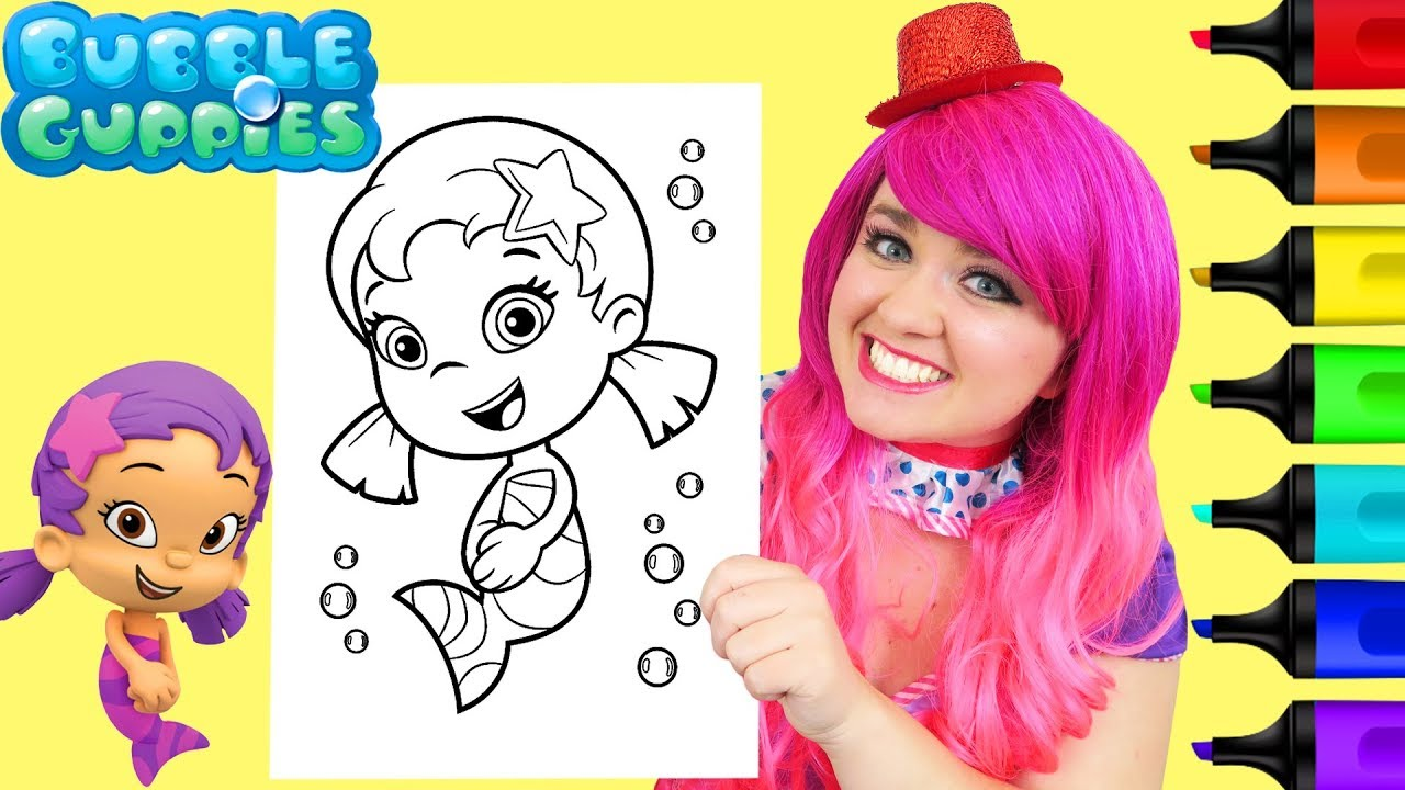 Coloring Oona Bubble Guppies Coloring Book Page Prismacolor Colored Paint  Markers  KiMMi THE CLOWN