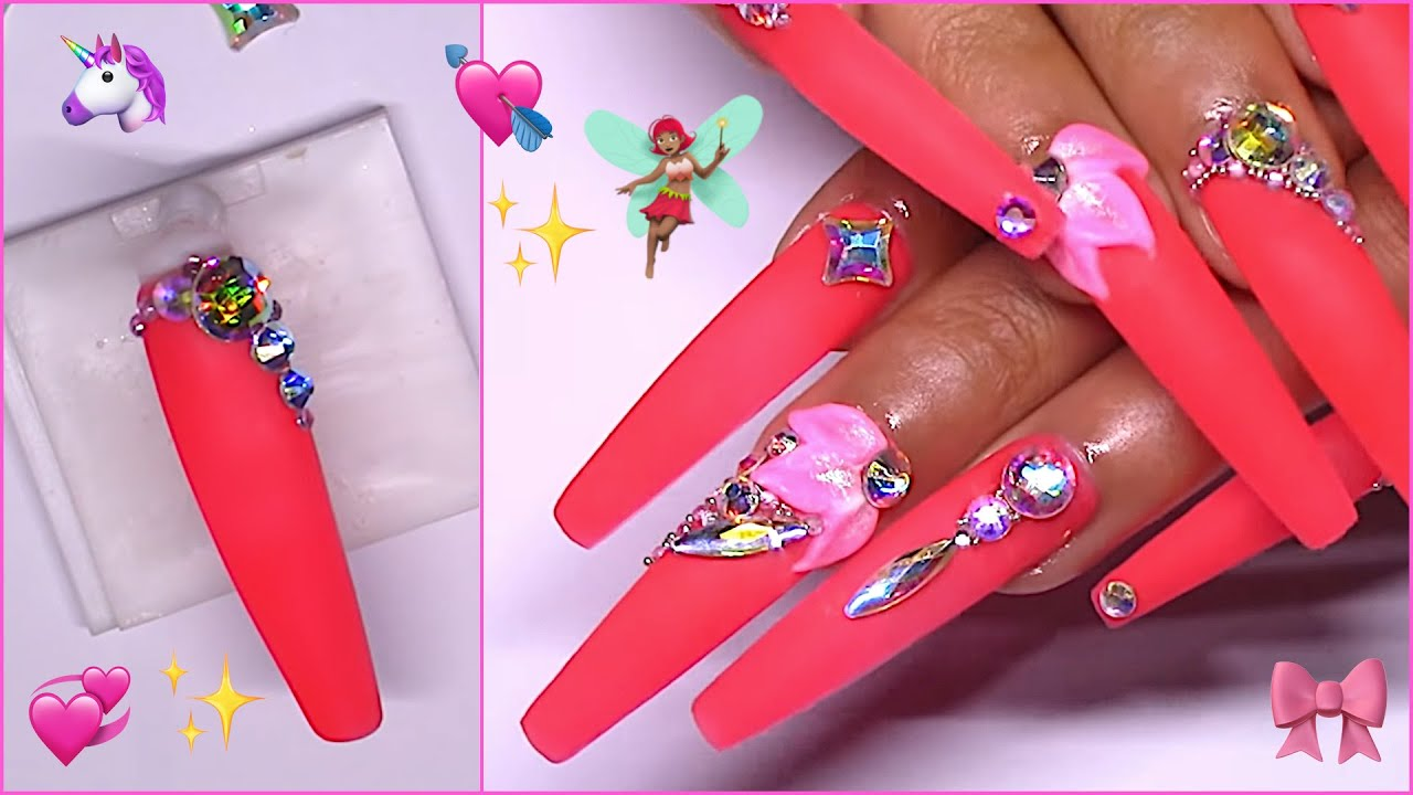 Sculpture Gel Flowers On Extra Long Coffin Press On Glow In The Dark Nails Ulg Amazon Shop Youtube