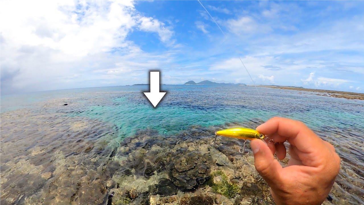 こんな所に巨大魚。潮溜まり小さなルアー落としたら謎の巨大魚が喰いつき竿が限界!!【伊是名島釣り】
