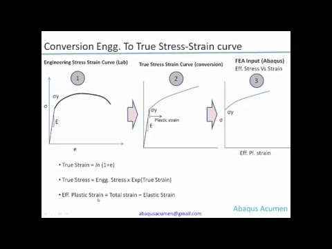 Converting Engineering to True stress-strain curve Tutorial: This video describes on how to convert Engineering stress – strain curve to True stress-strain curve. For FE model for accounting material non-linearity we need to feed True stress-strain curve with minor modification to effective plastic strain. Formulas for conversion along with Excel sheet use has been demonstrated to carry out this exercise quick error free and this video also shows copying this data to AbaqusCAE window and editing input Textpad file.