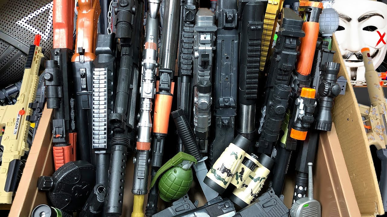Download Box of Realistic Toy Guns! Equipments and BB Guns with Toy Rifles   Box of Toy Guns