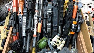 Box of Realistic Toy Guns Equipments and BB Guns with Toy Rifles  Box of Toy Guns