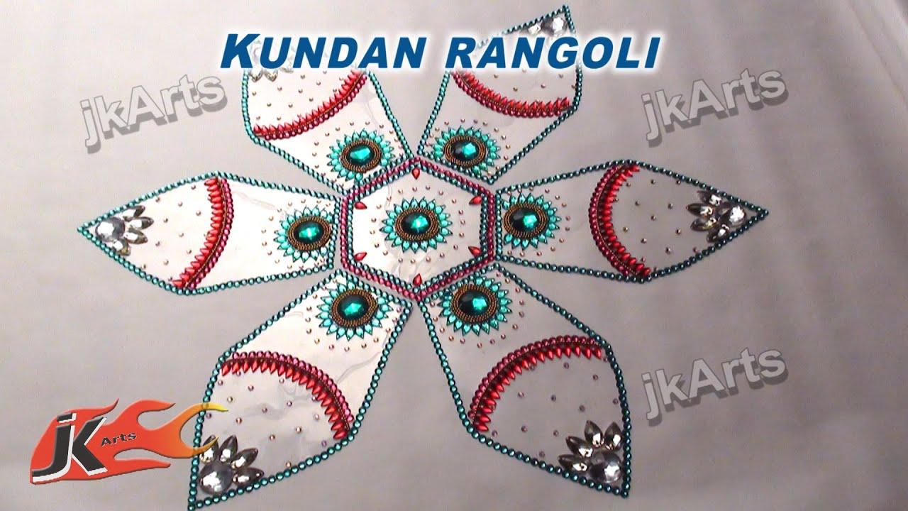 Diy kundan rangoli design on ohp sheet how to make jk for Home made rangoli designs