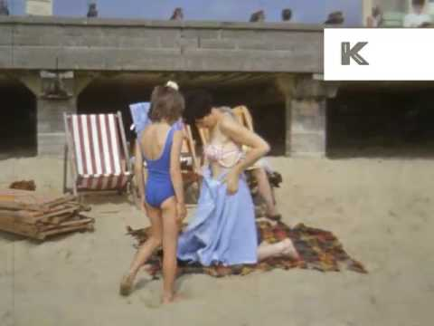 Late 60s Early 70s Family Beach Holiday, UK, Colour 16mm Home Movies