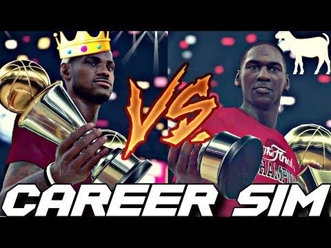 SIMULATING LEBRON JAMES VS. MICHAEL JORDAN'S NBA CAREERS ON NBA 2K18!! #Careersimvs