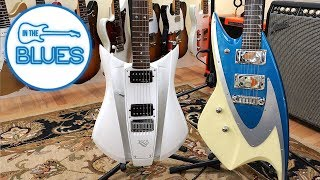 two weird electric guitars in a cool way at jerry's lefty guitars